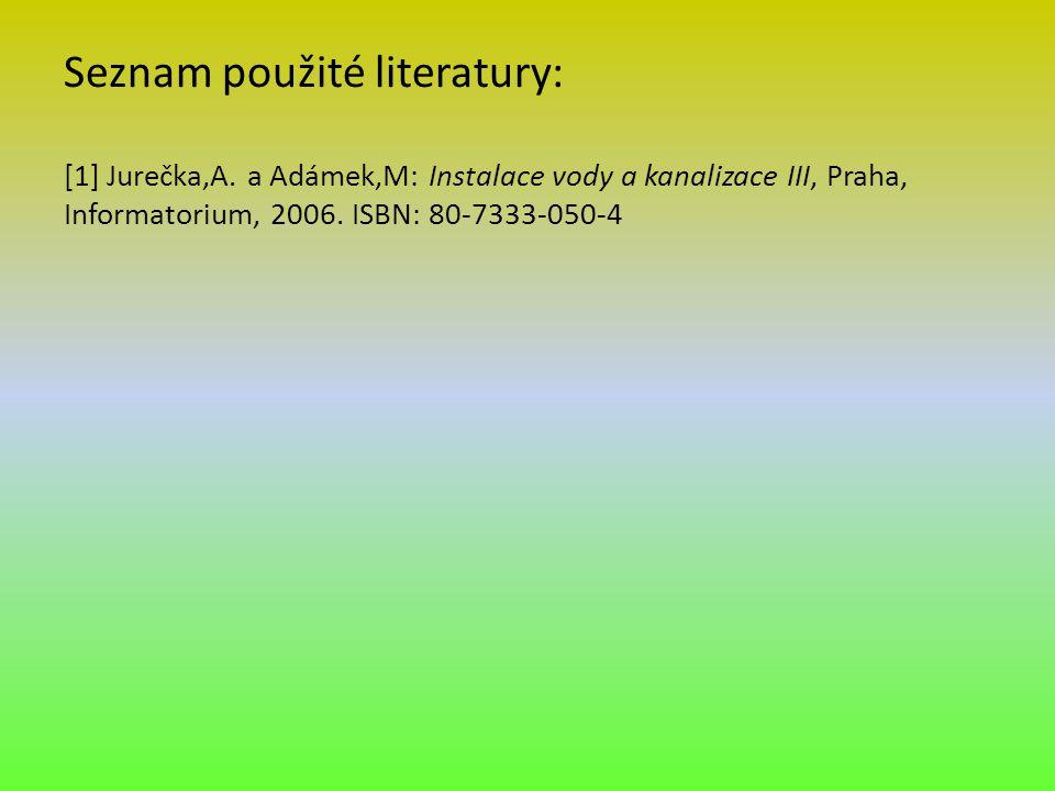 Seznam použité literatury: [1] Jurečka,A